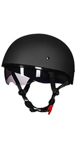 Half Motorcycle Helmet with Sunshield Quick Release Strap Fit for Bike Cruiser Scooter Harley DOT