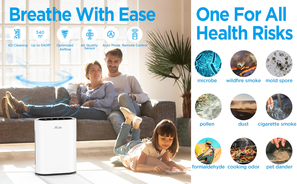 Amazon Com Mooka True Hepa Air Purifier Large Room To 540ft 6 Point Filtration Odor Eliminator For Allergies And Pets Ionic Sterilizer Air Cleaner For Office Home Rid Of Mold Smoke Odor