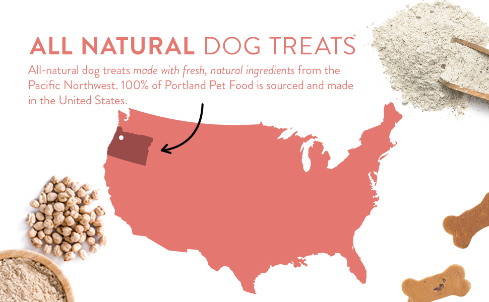 All natural dog treats made with fresh natural ingredients from the Pacific Northwest USA Sourced