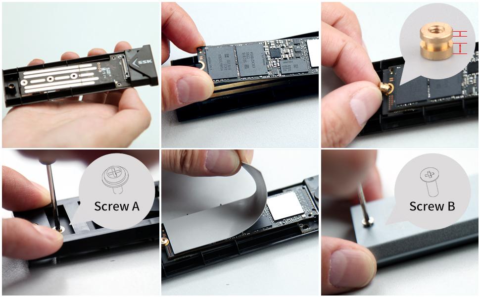 SSK M.2 caja ssd Adaptador de carcasa NVME de aluminio, USB 3.1 Gen 2 (10 Gbps) a NVME PCI-E M-Key Unidad de estado sólido Carcasa externa (solo se adapta a NVMe PCIe