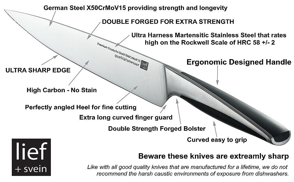 9 pc kitchen knife set with block german