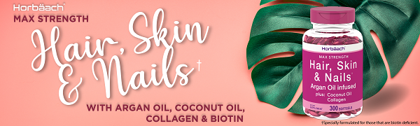 hair skin nails argan oil coconut oil biotin collagen