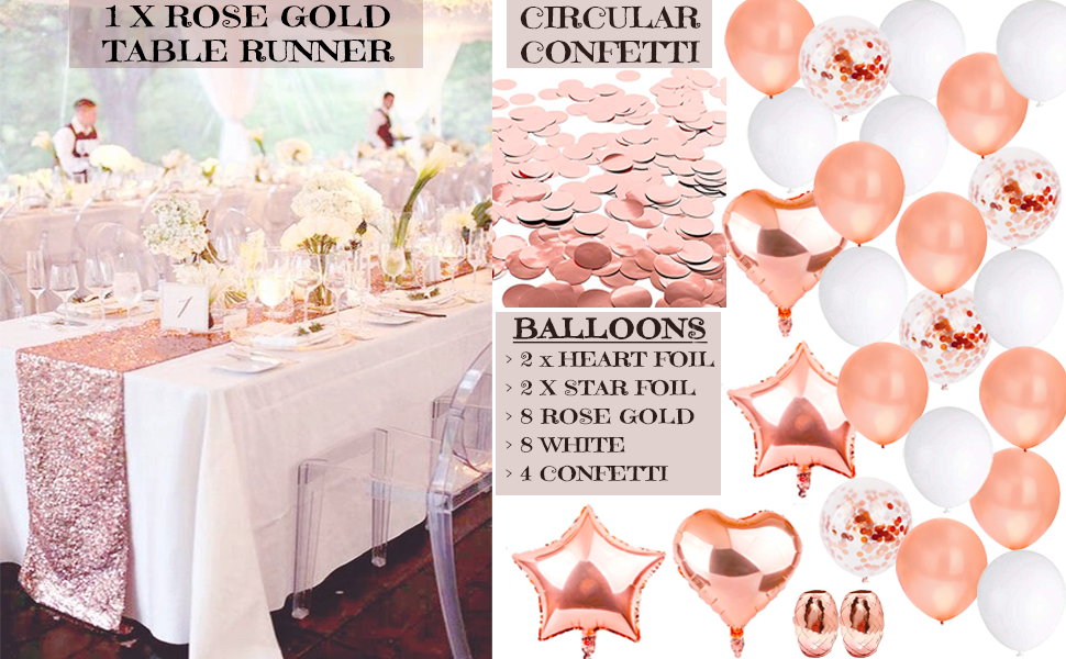 Rose Gold Party Decorations Supplies