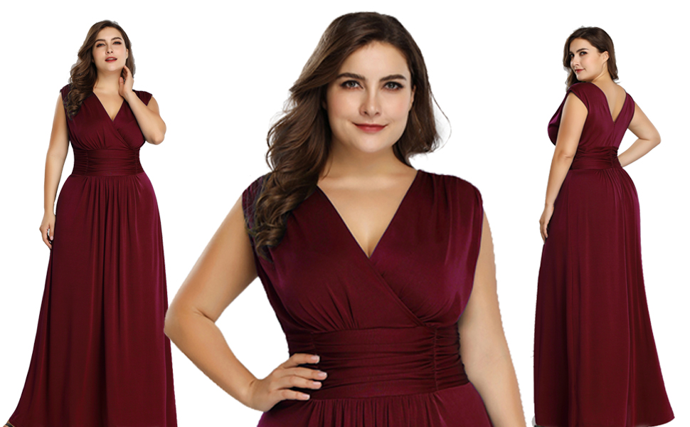 Ever Pretty Women S Plus Size V Neck Wrap Dress Long Formal Evening Dress 07661
