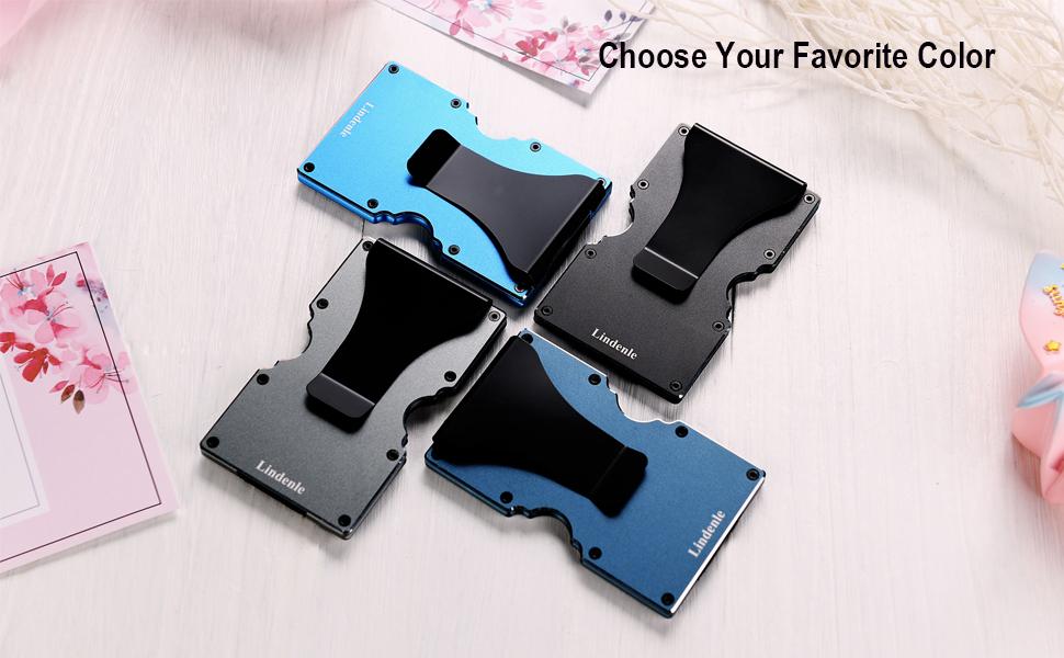 gunmetal, ocean blue, dark green gray, black colors of minimalist wallet
