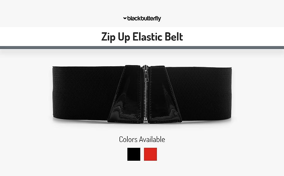 Zip Up Elastic Belt