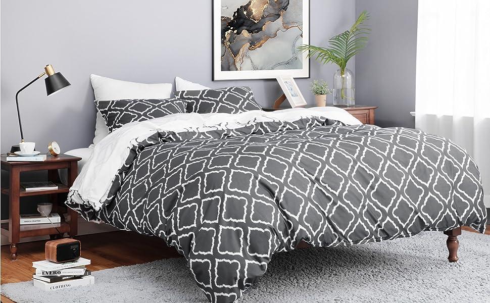 Bettbezug 135 x 200 cm 2 teilig mit 80x80 cm Kissenbezug f/ür Einzelbett weich und b/ügelfrei Bedsure Bettw/äsche 135x200 grau Mikrofaser