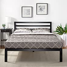 Zinus Suzanne Double Metal And Pine Wood Platform Bed