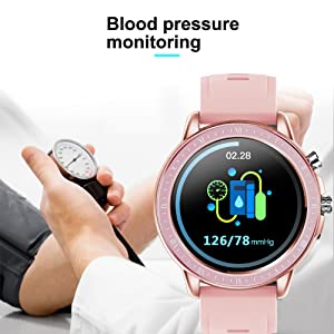 fitness tracker with blood pressure monitor smart watch BP activity tracker rosegold silver pink