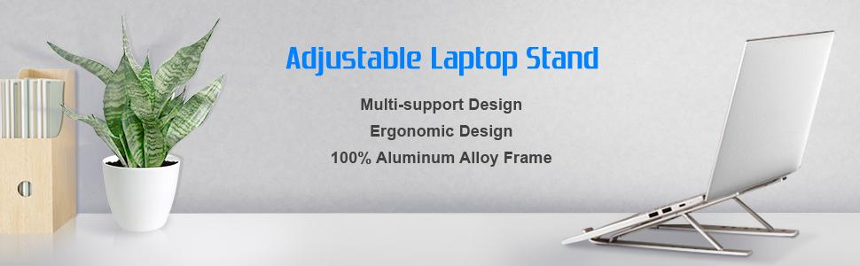 Laptop Stand,  Portable Computer Desktop Stand Adjustable Foldable Travel Notebook Holder Mount