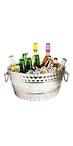 Stainless steel Anchored double walled beverage tub insulated silver parties ice bucket