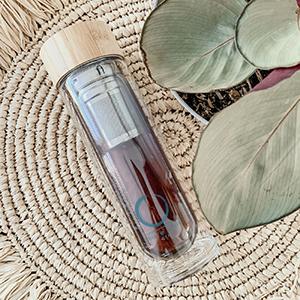 bamboo tumbler loose leaf tea mug glass tea strainer filter  tea travel mug with infuser