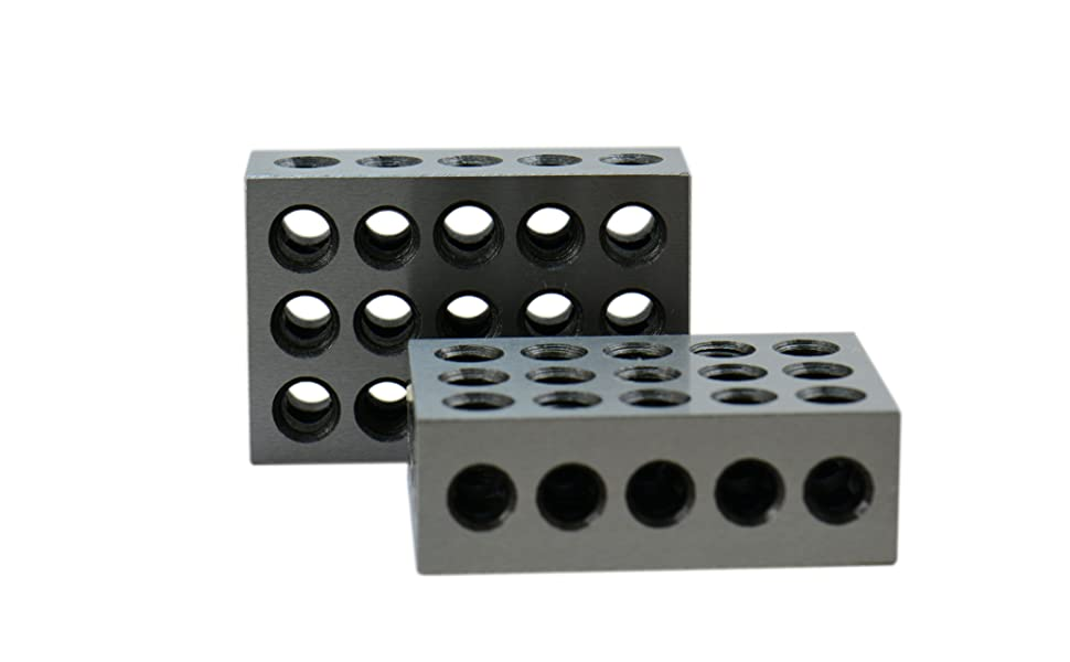 Anytime Tools 1-2-3 Blocks Matched Pair Hardened Steel 23 Holes 123 Set