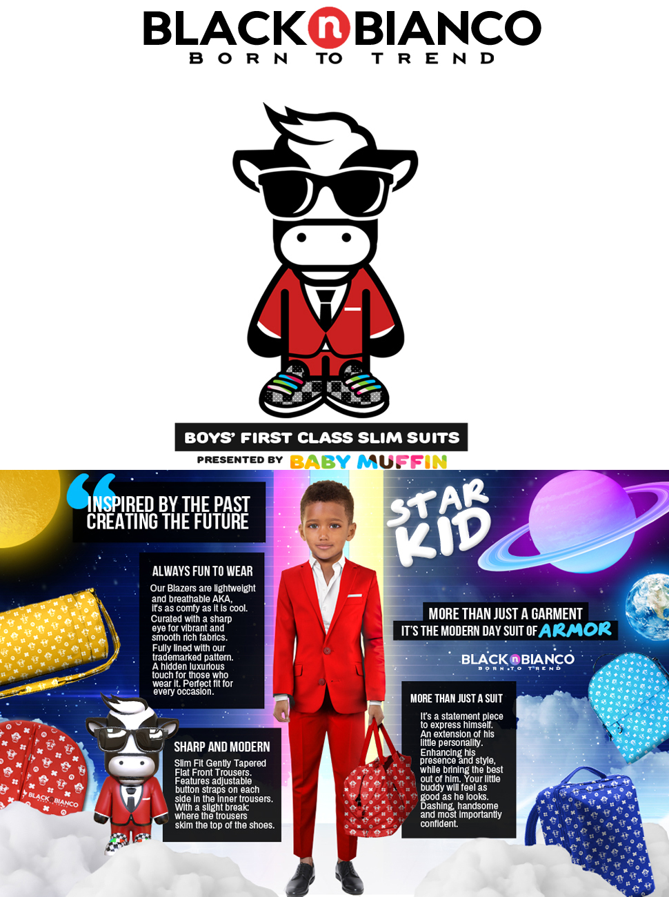Black n bianco Boys First Class Slim Fit Suits