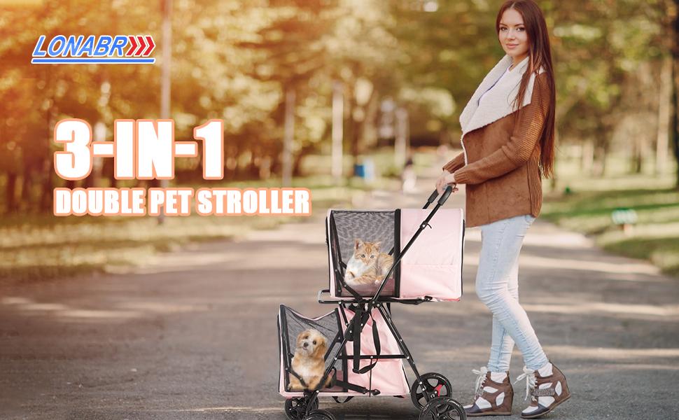 Folding Dog Stroller Travel Cage