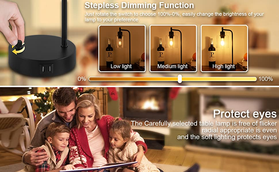 industrial stepless dimmable table lamp