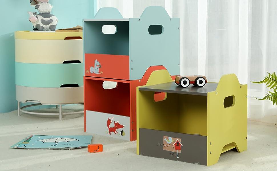labebe - Storage Bins, Toy Wooden Storage Cubes Box