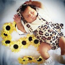 Baby Girls Ruffle Leopard Romper Jumpsuit With Headband