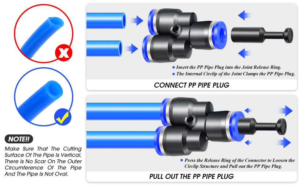 """25//64/"""" Tube OD x 1//4/"""" G Thread Blue 5pcs Details about  /PL10-02 Push to Connect Tube Fitting"""