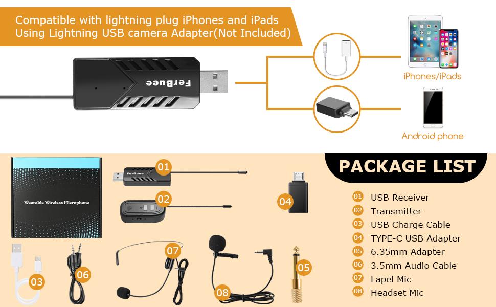 registrazione con jack monitor iPhone Microfono a clip wireless USB per computer Cuffie wireless FerBuee e microfono Lavalier per PC iPad Android e sistema PA Ideale per insegnamento MAC