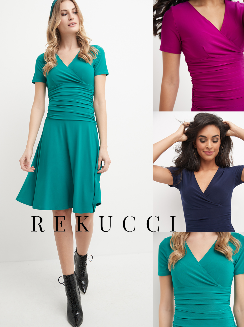 Rekucci short sleeve flippy fit and flare dress