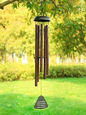 Large Silver 6 Tubes Windchime Chapel Bells Wind Chimes Door Hanging Home Decor