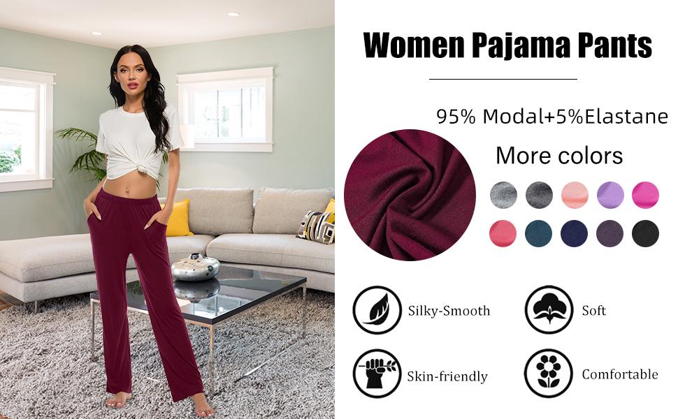 Amazon Com Jinshi Pantalones De Pijama Para Mujer Con Bolsillos Clothing