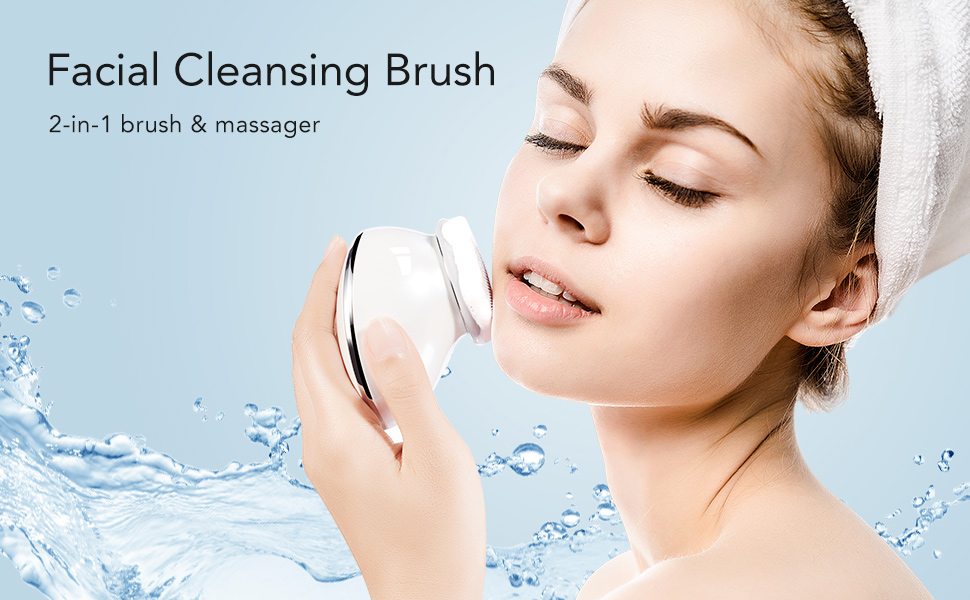 Silicone Facial Cleanser, Facial Cleansing Brush Electric Silicone Face Massager USB Rechargeable