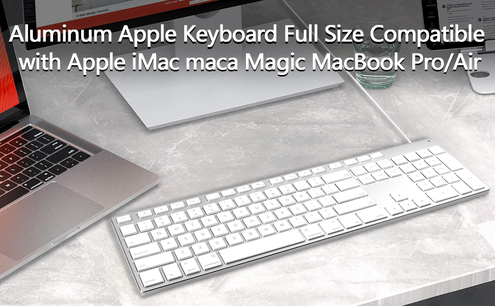 USB Wired Keyboard for iMac, Mac Keyboards with Numeric Keypad Aluminum Full Size