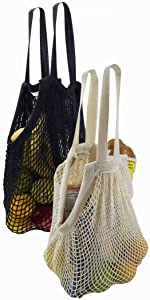 mesh net produce string cloth cotton durable stretchable grocery shopping big stretch beach travel