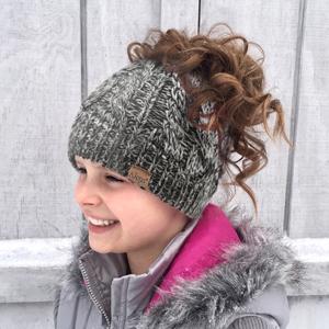 stocking hat with ponytail hole