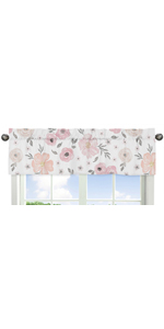 Blush Pink, Grey and White Window Treatment Valance for Watercolor Floral Collection