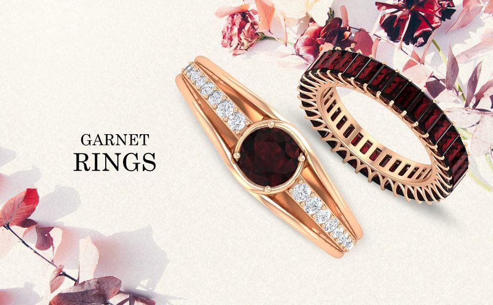 banner Garnet Rings