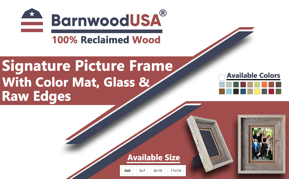 BarnwoodUSA Signature Picture Frame Matted 100% Reclaimed Wood banner