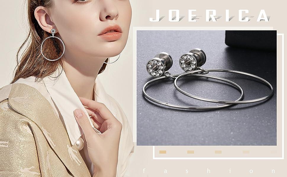 JOERICA 2 Pairs Sainless Steel CZ Ear Plugs Large Hoop Gauge for Ear Tunnels Expander Dangle Screw Stretcher Piercing