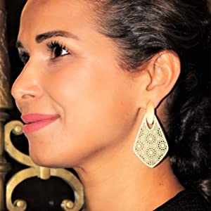 Geo Floral Dangle statement earring