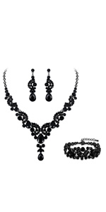 black bridal jewelry prom necklace sets for bride