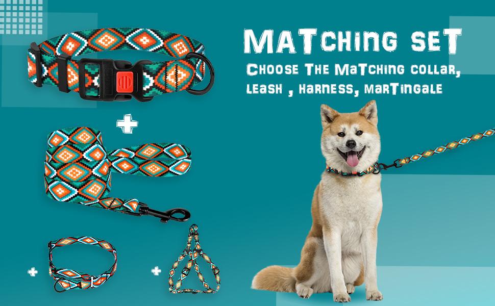 dog collar small medium large breed adjustable tribal pattern pet neck nylon cute puppy female