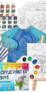 Acrylic Paint kit for Kids – 34-Piece Art Supplies Set for Boys, 12 Acrylic Paint Tubes – nontoxic