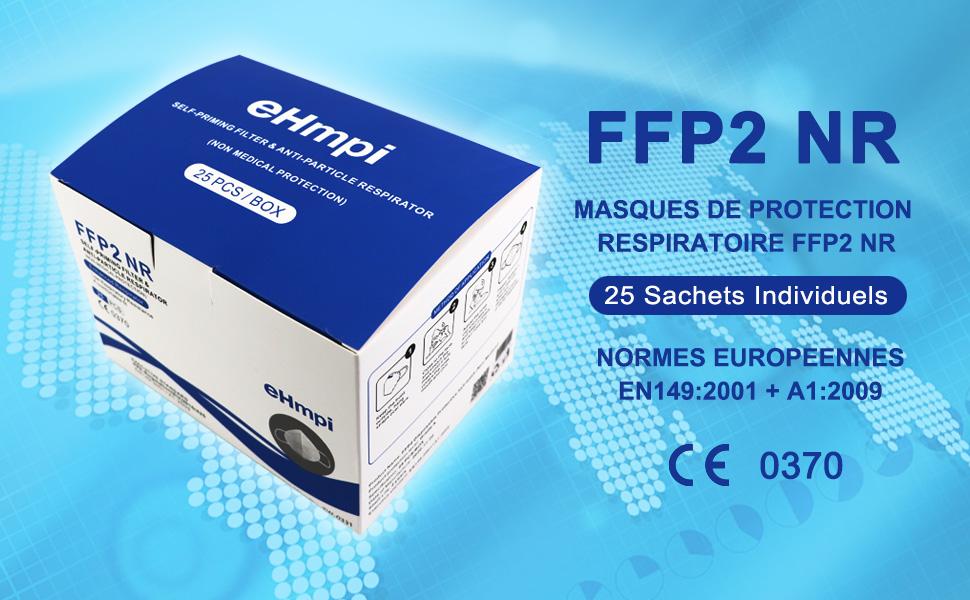 Masques FFP2 à 4 couches avec filtre Nano-Membrane EN149:2001 + A1:2009