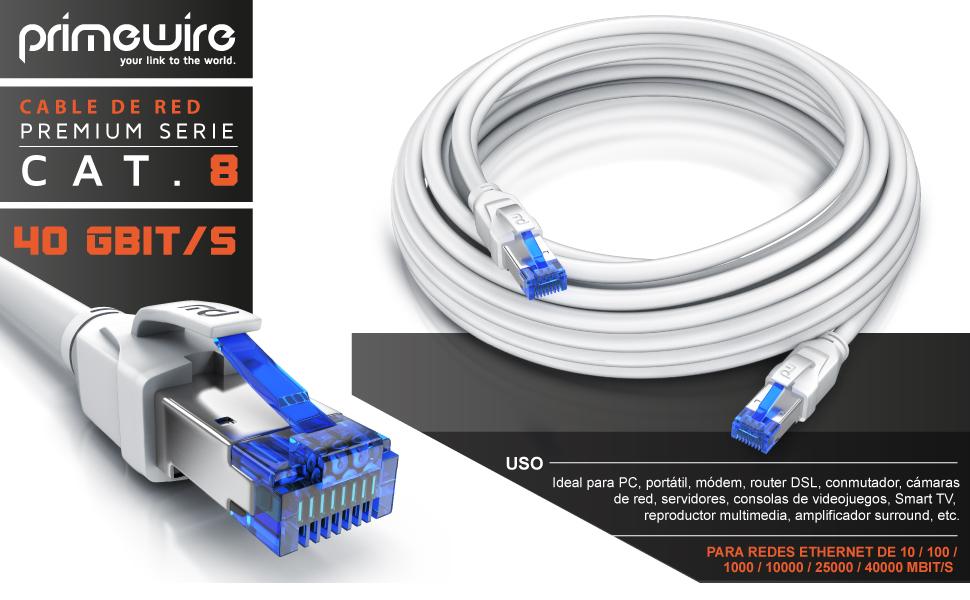2m Cable de Red Cat 8 Plano Compatible Switch R/úter Modem PC Smart-TV Primewire Revestido de PVC Cable Gigabit Ethernet LAN 40000 Mbits con Conector RJ 45 40 Gbits Blindaje U FTP Pimf