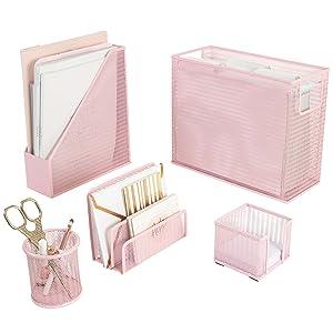 Pink Desk Organizer Set