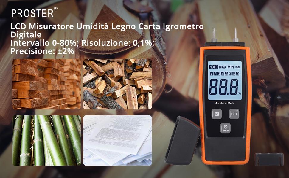 8 tipi di legno con display LCD retroilluminato,2 modalit/à di misurazione,per l/'ispezione dellumidit/à di legno e materiali da costruzione M01 Huepar misuratore di umidit/à del legno