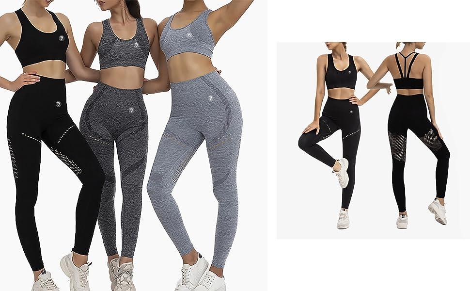 Women Fitness Activewear Yoga Wear Seamless Leggings & Bra Set