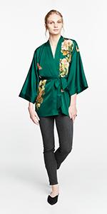 KIM+ONO Women's Charmeuse Curve amp; Plus Size Kimono Jacket Peony amp; Butterfly Emerald