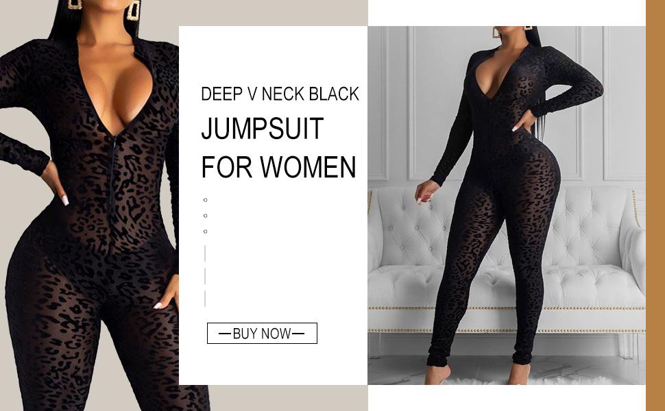 Black Leopard Jumpsuit for Women