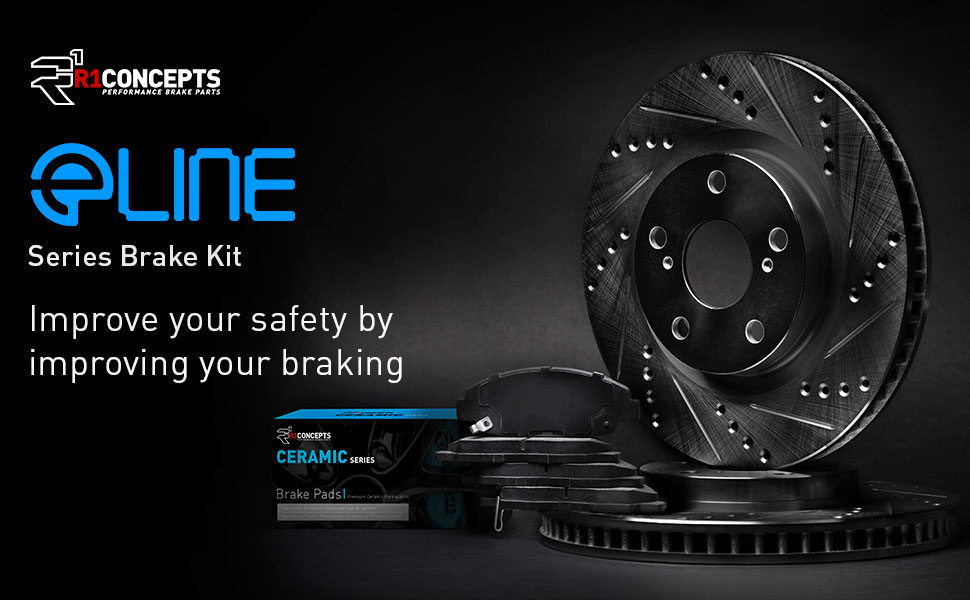 Front and Rear eLine Slotted Brake Disc Rotors /& Ceramic Brake Pads CES.62044.02