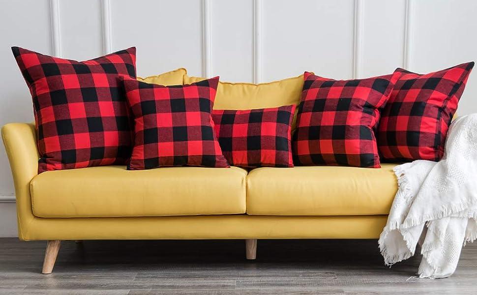 red and black cotton linen farmhouse farm style stylish square checkered check tartan  Scotland