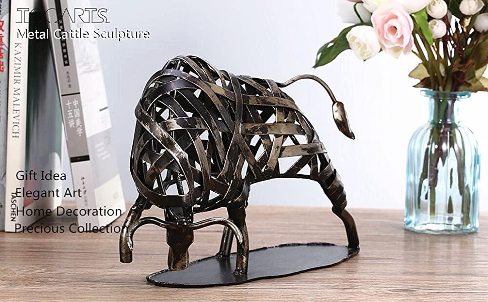 Modern Sculpture Iron Braided Cattle