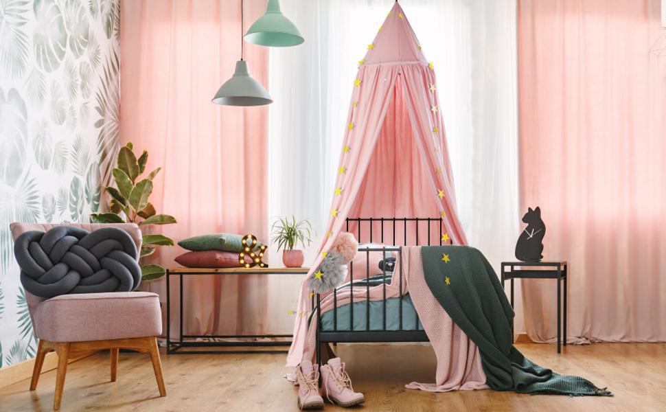 Baby Baldachin, Betthimmel Kinder, Ceekii Babys Bett Kinderzimmer Bettvorhang Baumwolle